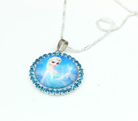 Other acrylic round ornament - 50pcs Girls Necklace With Round Crystal Pendant Princess Necklet Neck Chain Jewelry Ornament Gift jbc607