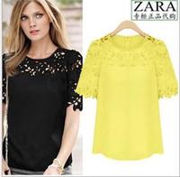 Hot Sell Femmes à col rond en mousseline de soie creuse Zipper Lace manches courtes noir, blanc, couleur jaune Shirt