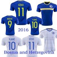 Wholesale Thai qualite Bosnia and herzegovina Euro Soccer jersey DZEKO home blue away white IBISEVIC PJANIC Bosnia football shirt jersey