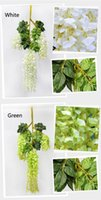 artificial flowers lilies - 110cm Simulation Flower Artificial silk flower Wisteria Vine for Wedding Home Decoration White
