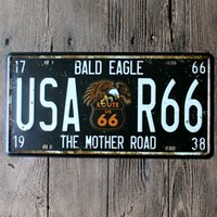 american car craft - License Plate Car Number Garage Poster Route US Metal Tin Signs Art Wall Decor Bar Cafe House Retro Crafts CM