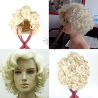 Wholesale Hot Style Fashion Short Blond Curly Wig Cosplay Marilyn Monroe Hair Full Wigs LX0386