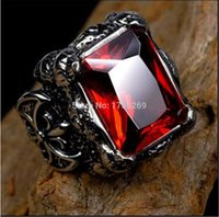 class ring - Fashion Men Class Ring Stainless Steel L Titanium Silver Cubic Zirconia Gothic Jewelry Gothic Ring SZ to Party Ring