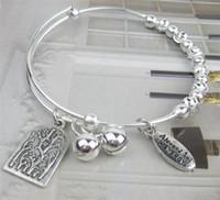 121 - 10pcs Vintage Alex and Ani DIY Bangle with Tree charms Pendant Expandable Bracelet Women Jewelry AX