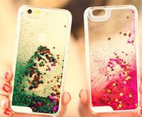 Wholesale Glitter Bling Stars Dynamic Liquid Hard PC Clear Crystal Case Back Cover For iPhone S C S plus Galaxy S5
