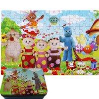 achat en gros de cas de développement-Dans le jardin de la nuit Baby Development jouet puzzle les enfants jouets en bois puzzle cas de fer (80pcs un kit)
