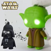 Wholesale Star Wars Darth Vader Yoda Keychain Accessories LED Luminous keychain Creative Chain Key Pendant