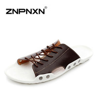 Wholesale ZNPNXN New mens sandals Genuine leather cowhide sandals outdoor casual men summer leather shoes for men