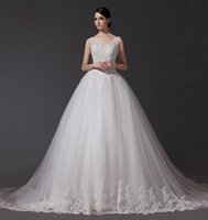 balls free samples - Elegant Real Sample V neck Appliques Sequin Beading Long Train Tulle A line Wedding Dresses