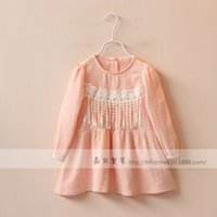 baby dress stitching - 2016 New Spring Kids Fahion Girl Dress Stitching tassel round collar skirt kids baby clothes cotton new clothes BY0000
