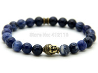 antique indian bronzes - 2015 New Arrival Top Quality Mens Beaded Bracelets mm Natural Blue Veins Beads Antique Bronze Buddha Bracelets Gifts