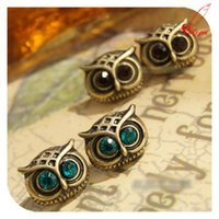 antique jewelry earing - Bijoux Antique Gold Big Eye Owl Stud Earrings Fashion Jewelry Brincos Crystal Earing pendientes mujer HOT Selling Colors SE055