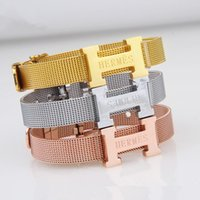 Wholesale Women bracelet silver Rose Gold gold plated Bangles Letter Clasp watchband titanium steel bangle