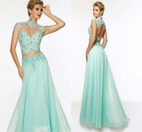 Wholesale Light Sky Blue Two Piece Prom Dresses High Neck Long Chiffon Flowing Sleeveless Applique Beads Empire Backless Formal Evening Gowns sdd