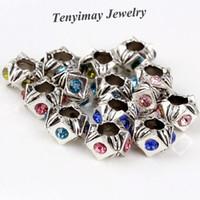 big color wheel - Mixed Color New Arrive Retro European Charm Beads DIY Wheel Shape Rhinestone Big Hole Beads