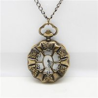 wholesale biker jewelry - Fashion Classic Rose Dial Men Pocket Watches Jewelry Biker Flower Quartz Pocket Watch Necklace Chains for Men High Quality Daihe Brand