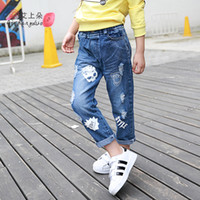 Wholesale new arrivel Autumn Children s denim jeans Personality skull pattern hole trousers amp Years Old baby girl clothing