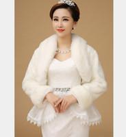 Wholesale Elegant Winter Wedding Dress Coat Faux Fur Stoles Beige White Fur Coat Long Sleeve Bolero Jackets Accessoire Mariage