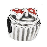 cupcake charm - Sweet Red Cupcake Enamel Charm Sterling Silver European Charms Beads Fit Snake Chain Bracelet DIY Jewelry