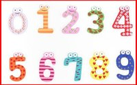 Wholesale Set of Number Cartoon Wooden Fridge Magnet Children Fridge Colorful Magnetic Children Kids Wooden Education Toy X mas Gift