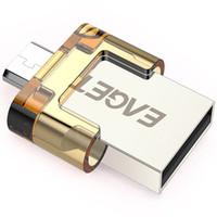 Wholesale EAGET V8 Mini Pull Push Cap Encryption Metal Tablet PC USB Flash Drive USB2 OTG Smartphone Drive Micro USB Portable Storage Memory C2161