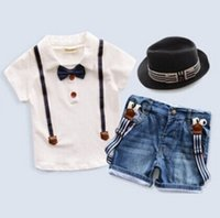 Cheap Summer 2015 Boy Clothing Set Short Sleeve With Bow Tie Shirt And Suspender Jeans Children Clothing Sets Baby Clothes