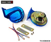 Wholesale TANSKY High Quality pc Classic Car Horns Volt Electric Chrome Blue color With Copper Wire TK HOM39CB