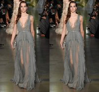 double neck - 2015 Sexy Elie Saab Evening Dress Deep V Neck Double Shoulders Lace Chiffon Long Silver Gray Plus Size Prom Dress Formal Gown Runway Dress