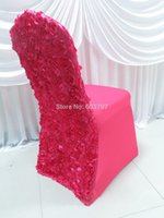 Wholesale 13 Colors Elestic Spandex Banquet Chair Cover With Satin Rosette Back For Wedding Party Hotel Decoration
