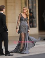 gossip girl - 2015 Evening Dresses Sexy Zuhair Murad Haute Couture Blake Lively Grey Lace Dress Sheer Long Sleeves V Neck Gossip Girls Formal Gowns ZH62