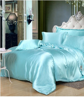 aqua duvet sets - Silk Aqua bedding set green blue satin california king size queen full twin quilt duvet cover fitted bed sheet double linen