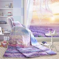 Wholesale LOVO Provence Lavender Romantic flower Cotton Summer Quilt amp TC Bedding Duvet Cover amp Pillowcases