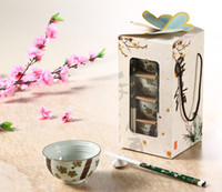 antique cherry wood - Fine Japanese Porcelain Rice Bowls with Wood Chopsticks Gifts Set of Handpainted Green Cherry Blossom on Antique White Glaze