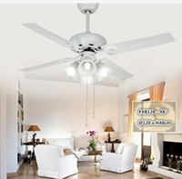 Wholesale Brazil modern Inch simple hall painted white LED iron fan blade fan PC E27 bulb summer restaurant choice