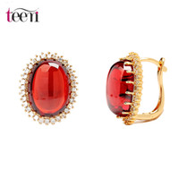 big jewelry stores - Teemi Jewelry Store Stud Earring Cheap Fashion Plated Champagne Gold Big Round Cubic Zirconia Vintage European Style Brincos for Women Party