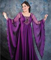 Cheap Purple A line Arabic Gowns New butterfly long sleeves Beaded Chiffon dubai kaftan abaya arabic evening dress