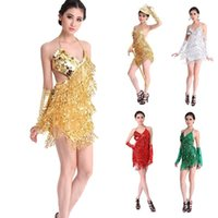 ballroom dresses - 2015 Handmade Spandex Sexy Prom Ballroom Latin Dance Costume Salsa Samba Cha Cha Tango Professional Dancewear Dress Skirt Colors Golden