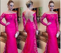 Wholesale Formal Evening Dresses Hot Sexy Lace Bateau Sweep Train Dress Long Sleeve Backless Burgundy Women Plus Size Long Mermaid Dress AD36