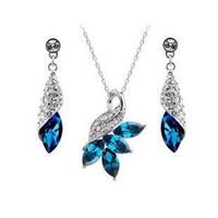 Earrings & Necklace austrian crystal jewelry - Austrian crystal Rhinestone jewelry sets High quality necklace and earrings Woman crystal jewelry z049