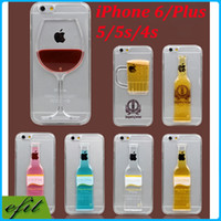 Wholesale Originality Luminous Liquid Beer Cocktail Red Wine D Case Hard Clear Transparent PC Back cover cases Shell For iPhone S iPhone6 Plus