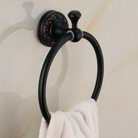 Wholesale Art Carved Design Euro style wall mount antique bronze towel ring bathroom accessories bath towel holder bath hardware HY R