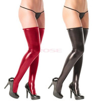 Wholesale Red balck color Sexy Women Skinny Faux Leather Stockings Stretchy Non Slip Long Boot Knee Socks Pantyhose Warm Tights High Meias Femininas