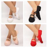 Wholesale girls unisex split soles canvas ballet flat dance shoes leather toe cap pink red black white color yoga shoes
