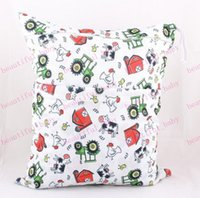 Wholesale New Arrival Baby Waterproof Zippered Wet Dry Diaper Bag Owl Wet and Dry Cloth Diaper Bags Wet Swimsuit Bag Animal Printed