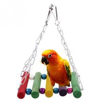 Wholesale New Colorful Parrot Swing Bird Toy Wooden Rat Mouse Hamster Hanging Hammock Toys order lt no track