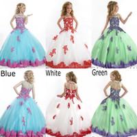 Toddler wedding grown dress - 2016 Glitz Little Girls Pageant Dresses Blue Sheer Grew Neck Tulle Beaded Crystal Top Princess Flower Girl Dresses PT1510
