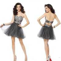 short sparkly prom dresses - Sparkly Beading Backless Short Homecoming Dresses Sweetheart Sleeveless Grey Tulle Prom Party Dress Mini Teen Dresses Top Quality