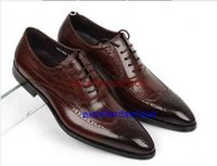 alligator shoes - 2015 men shoes oxfords top quality brown black cowhide genuine leather men shoes alligator shoes mens