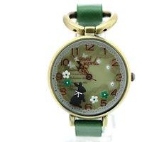 battery rabbit - Hot Sale Fashion Mini Watches Wrist Watches Rabbit Flower Pattern Green Leather Watches Strap For Women Dress