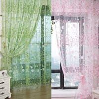 Wholesale Floral Style Tulle Voile Door Window Curtain Drape Panel Sheer Scarf Valance